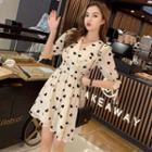 Heart Patterned Elbow-sleeve Chiffon Dress