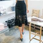 Ruffle-hem Laced Mini Skirt