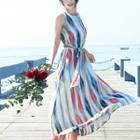 Sleeveless Striped Midi Chiffon Dress