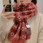 Flower Print Knit Scarf Vintage Red - One Size
