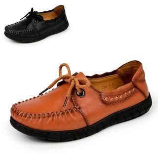 Genuine-leather Lace-up Stitched Casual Shoes