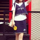Set: Letter Denim Vest + Short-sleeve T-shirt + Denim Skirt