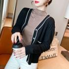 Contrasted Light Knit Cardigan