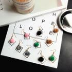 Geometric Pompom Hook Earrings