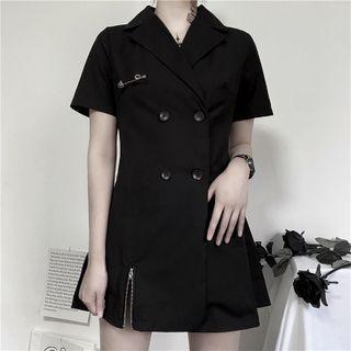 Set: Short-sleeve Mini Collard Dress + Faux Leather Harness Belt