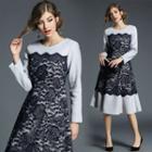 Lace Panel Woolen A-line Dress