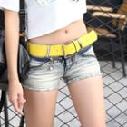 Distressed Zipped Denim Shorts
