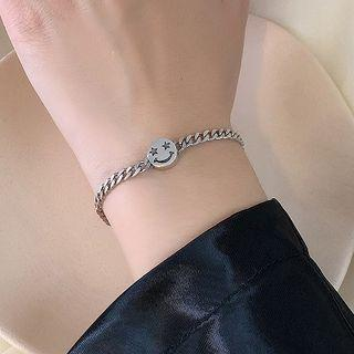 925 Sterling Silver Smiley Face Bracelet 1 Pc - Sterling Silver Bracelet - Smiley Face - One Size