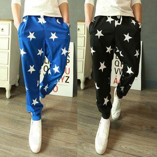 Patterned Gather-cuff Baggy Pants