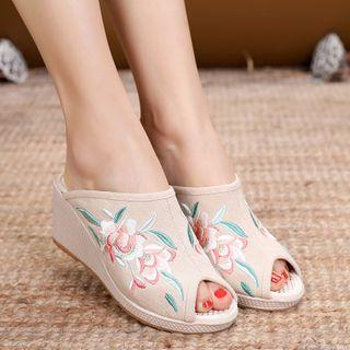 Embroidered Peep-toe Wedge Heel Slide Sandals