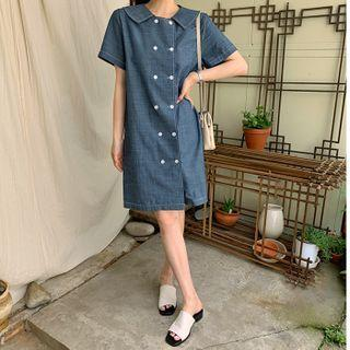 Double-button Chambray Dress