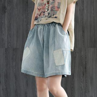 Patched Wide-leg Denim Shorts