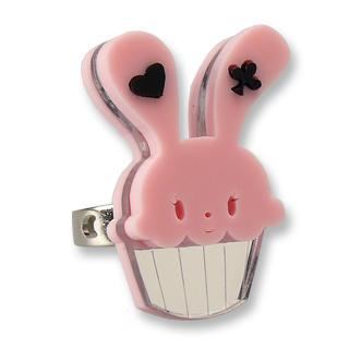 Sweet Pink Bunny Cupcake Of Heart Silver Ring