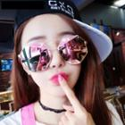 Mirrored Geometric Double-bridge Sunglasses