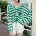 Perforated Striped Knit Top