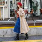 Tie-sleeve Double-breasted Trench Coat With Sash