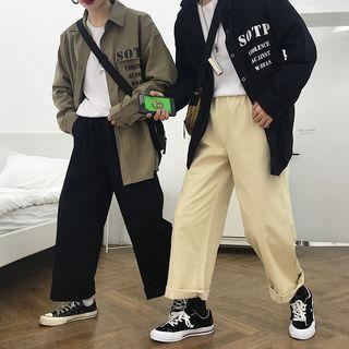 Couple Matching Lettering Shirt / Wide-leg Pants