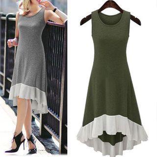 Chiffon Hem Sleeveless Midi Dress