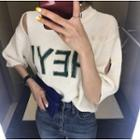 Lettering Elbow-sleeve Distressed Knit Top