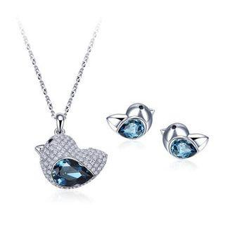 Set: Swarovski Elements Crystal Chick Necklace + Stud Earrings