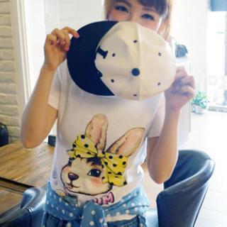 Short-sleeve Rabbit-print T-shirt