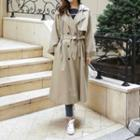 Hooded Long Trench Coat With Sash