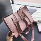 Lettering Faux Leather Shoulder Bag