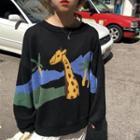 Giraffe Print Knit Top As Shown In Figure - One Size