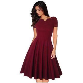 Short Sleeve V Neck Pleated Dress