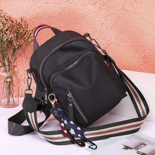 Heart Charm Striped Strap Lightweight Backpack