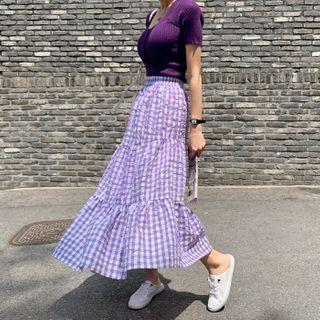 Band-waist Gingham Long Tiered Skirt