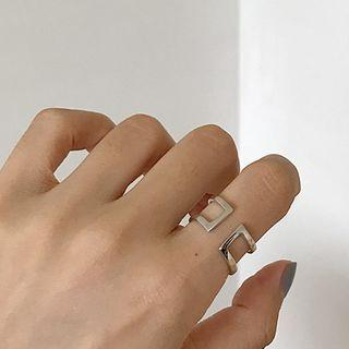 925 Sterling Silver Layered Open Ring K680 - Silver - One Size