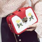 Embroidered Colour Block Shoulder Bag