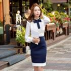 Contrast-color Jumper Skirt