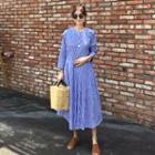 Stripe Long-sleeve Pleated Midi Dress