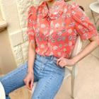 Frilled Floral Sheer Chiffon Blouse