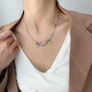 Alloy Star Pendant Necklace Pentagram - One Size