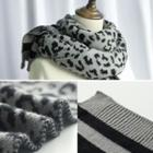 Leopard Print Knit Scarf Leopard - One Size