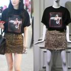 Set: Printed T-shirt + Leopard Printed Skirt