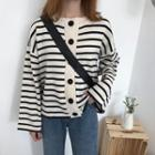 Striped Round-neck Cardigan