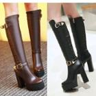 Chunky-heel Platform Tall Boots