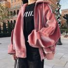 Hooded Zip Velvet Jacket