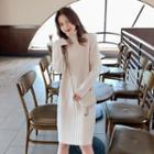 Long-sleeve Turtleneck Knit Dress Off-white - One Size