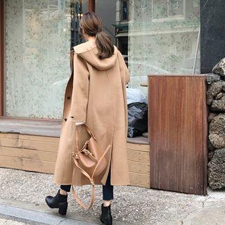 Hooded Long Wool Blend Coat Beige - One Size