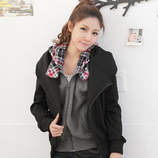 Brushed-fleece Diagonal-zip Hooded Jacket