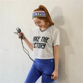 Lettering Cropped Mesh Top