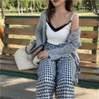 Color Block Camisole Top / Gingham Wide Leg Cropped Pants