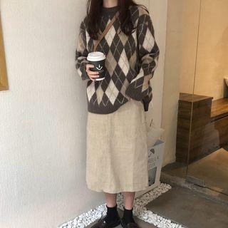 Argyle Pattern Sweater Sweater - Argyle - One Size