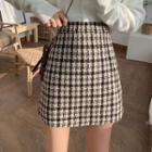 Checker Wool Mini Skirt