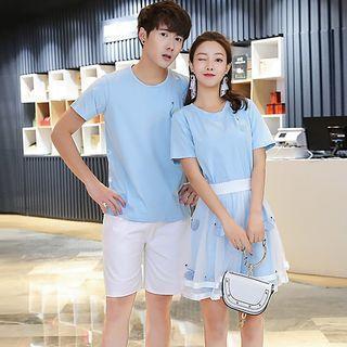 Couple Matching Short-sleeve T-shirt / Mini T-shirt Dress / Shorts
